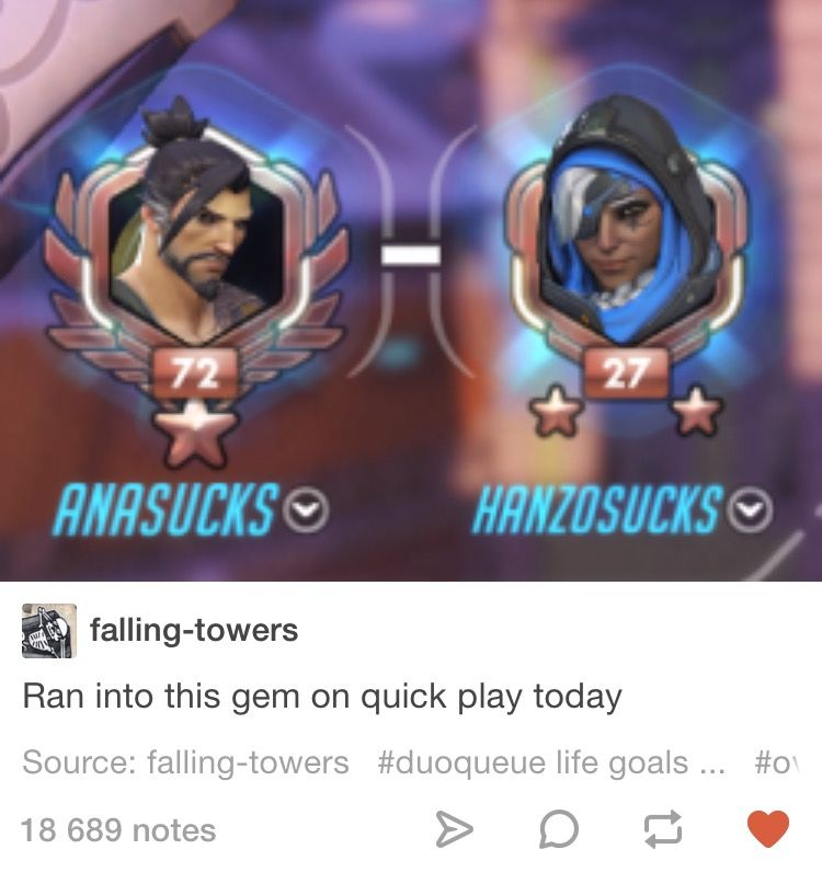 Overwatch Ana and Hanzo Tumblr text post Name a more