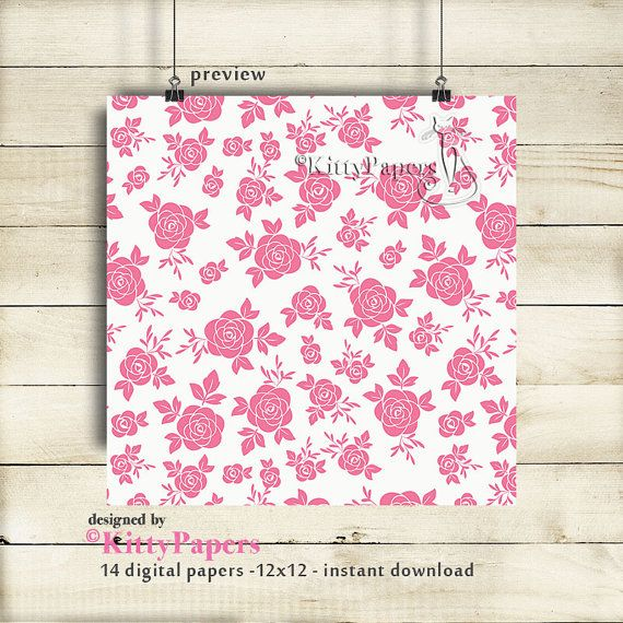 Flower digital paper pack: Colorful Roses Patterns by kittypapers