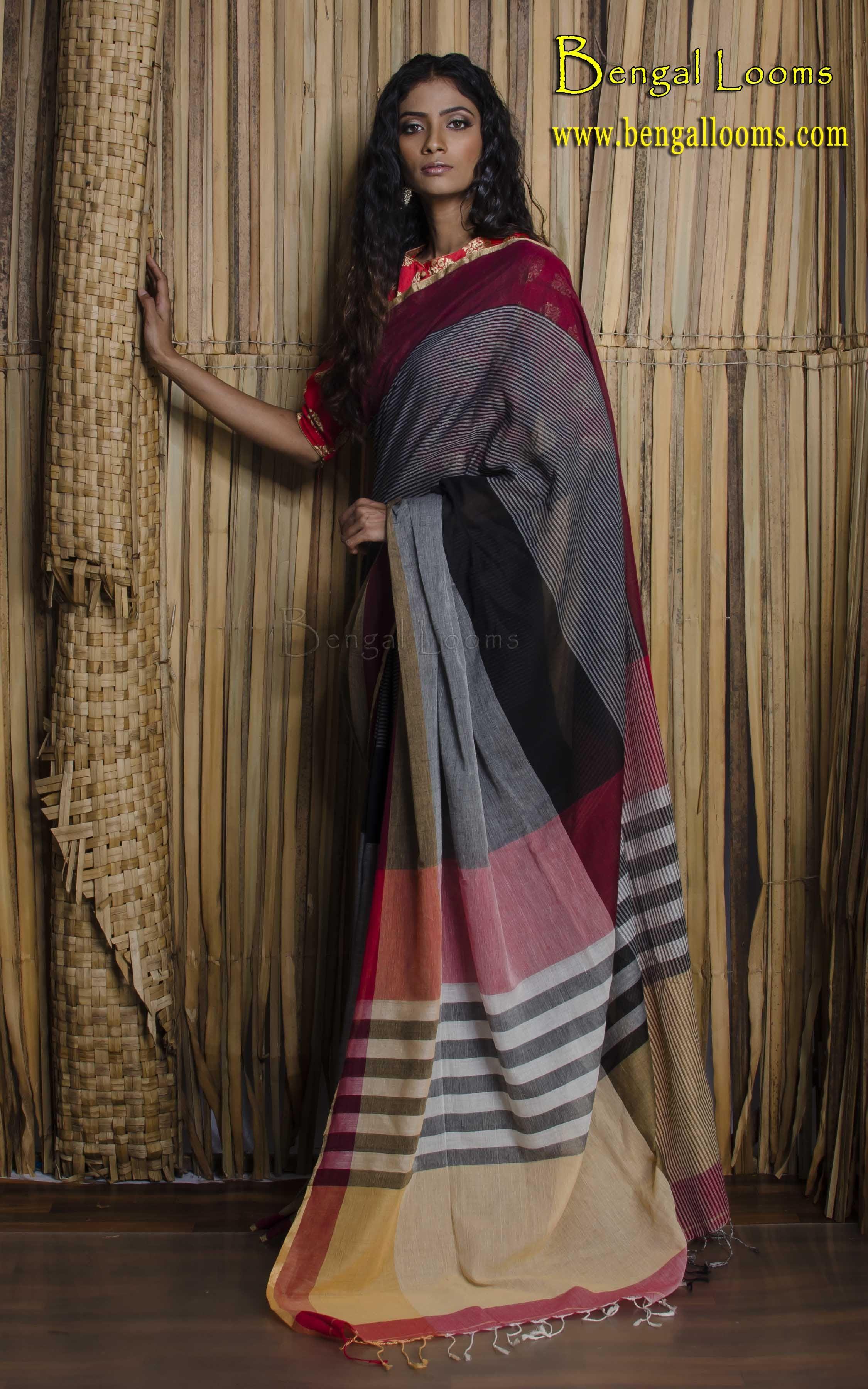 189edcd528 Soft Khadi Cotton Saree in Black, Red and Grey | Khadi Sarees ...