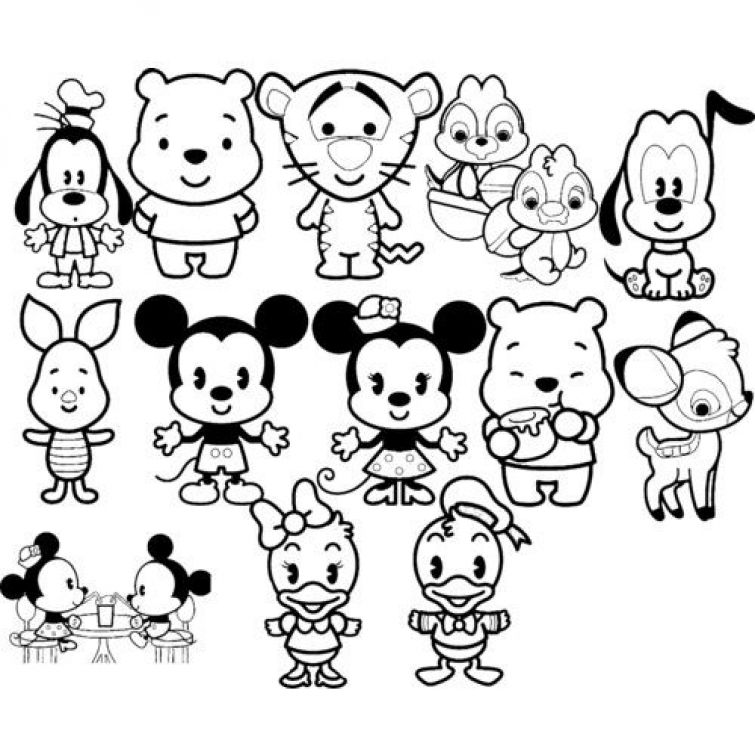 Grab this high quality Disney Kawaii coloring page free to