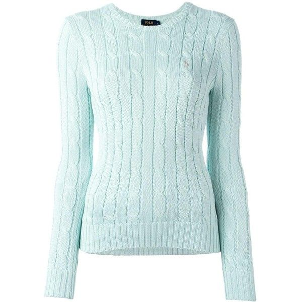 Polo Ralph Lauren 'Julianna' jumper (€115) ❤ liked on Polyvore featuring tops, sweaters, green, blue green sweater, blue sweater, cotton sweaters, cotton jumper and green top