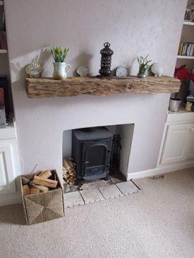 Oak mantle above wood burner