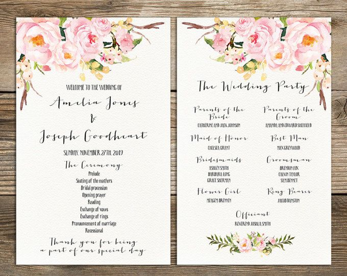Printable Boho Wedding Program Template Card Floral Wedding Ideas - Floral wedding program templates