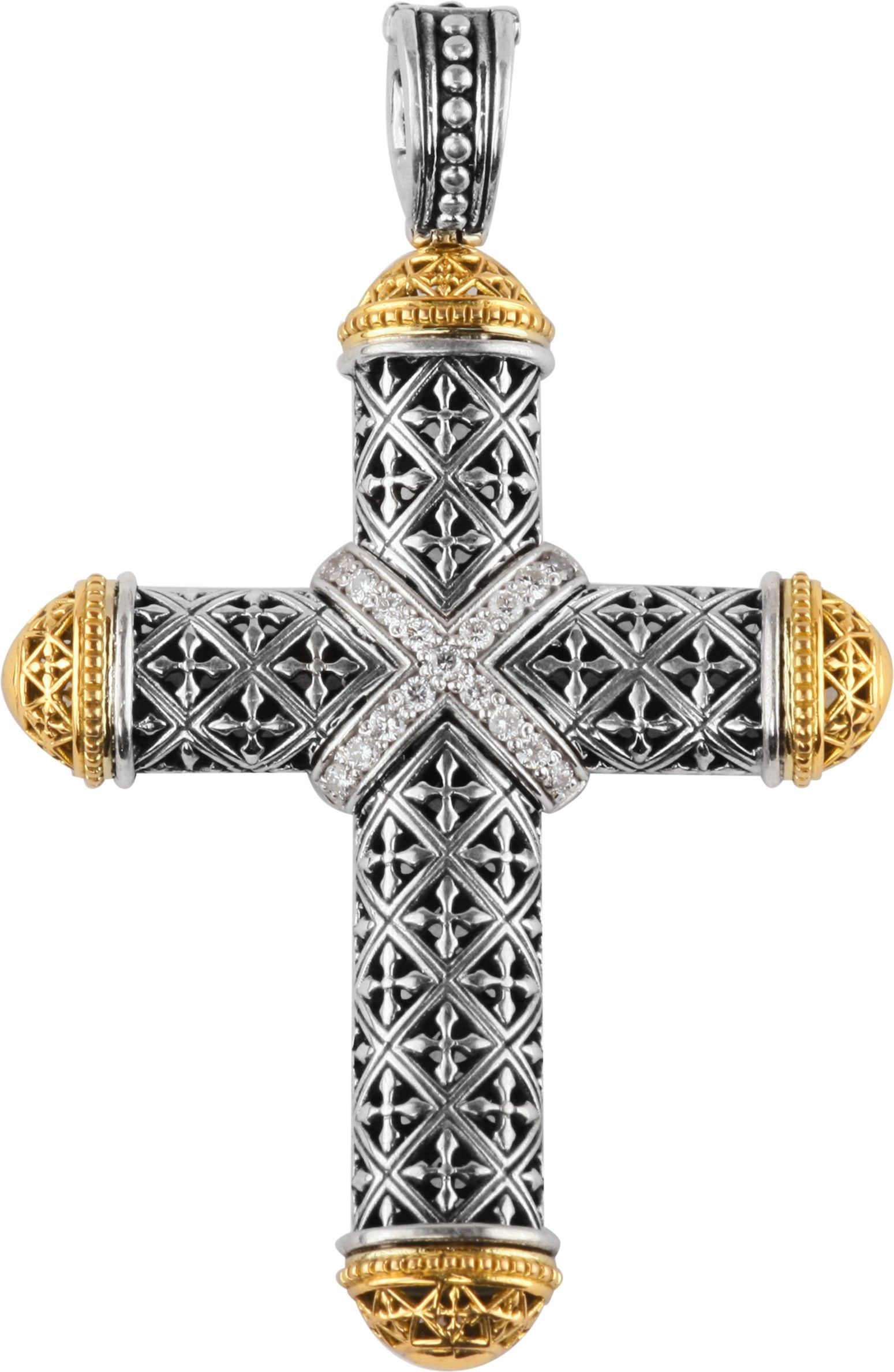 Konstantino sterling silver 18k gold cross pendant fashionfine konstantino sterling silver 18k gold cross pendant aloadofball Image collections