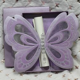 Wholesale 50Pcs Butterfly Scroll Wedding Invitations Elegant Customized Wedding Invitation Card Purple In A Box