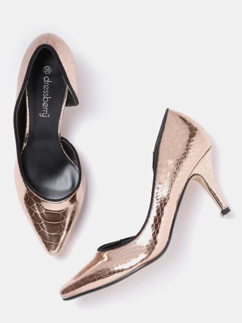 Buy DressBerry Women Rose Gold-Toned Textured Pumps online