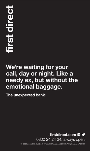 First Direct Press Campaign Emotions Words Unexpected