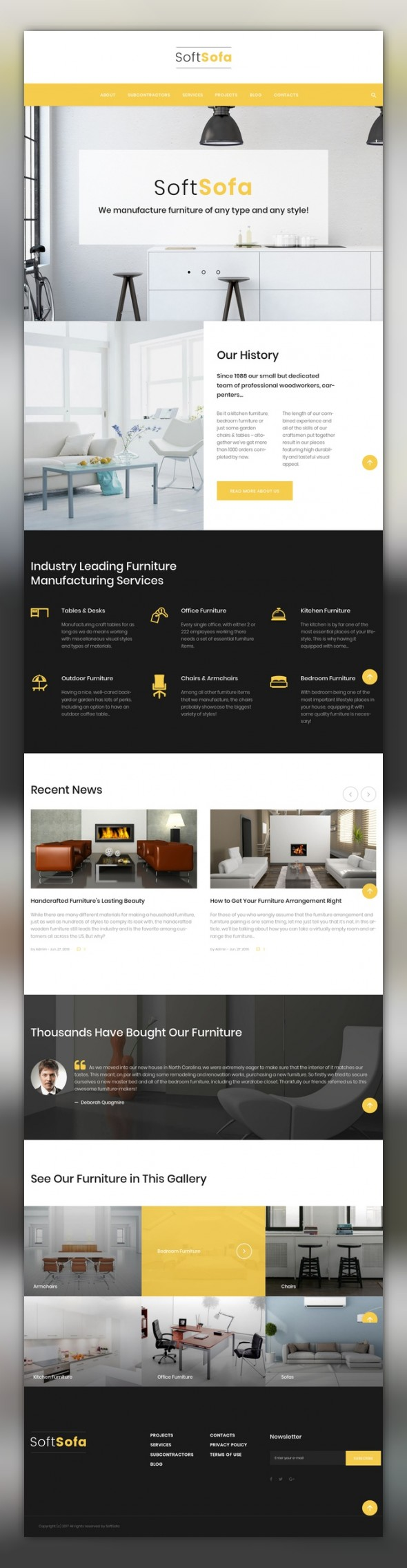 Soft Sofa - Furniture & Manufacturing Company WordPress Theme CMS ...
