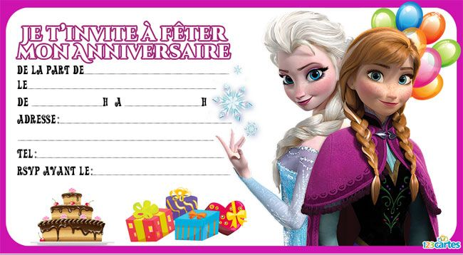 4 Invitations Anniversaire Reine Des Neiges 123 Cartes Idees