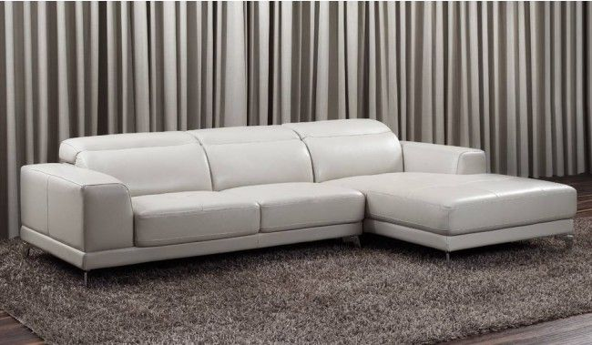 Lorenzo small top grain leather corner sofa with adjustable headrest ...