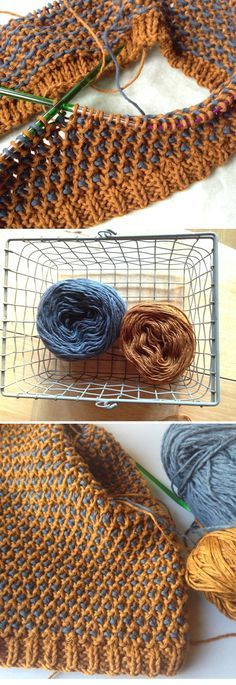 Tricoter Le Point De Riz : tricoter, point, Point, Essayer, Poule, Bicolore), Knitting,, Knitting, Tutorial,, Stiches