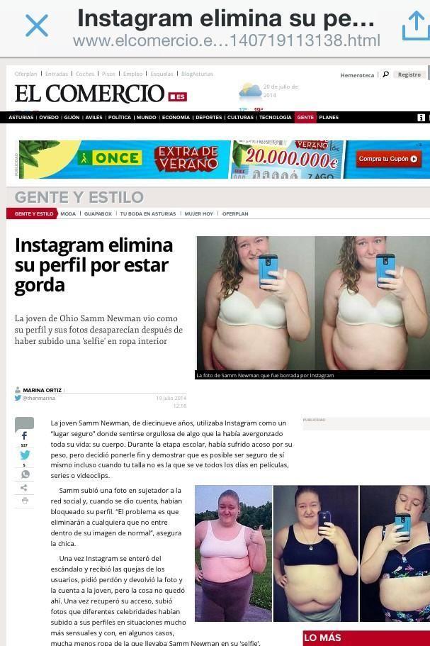Fuera Gorditas De Instagram La Red Social Te Quita Tu Perfil Si