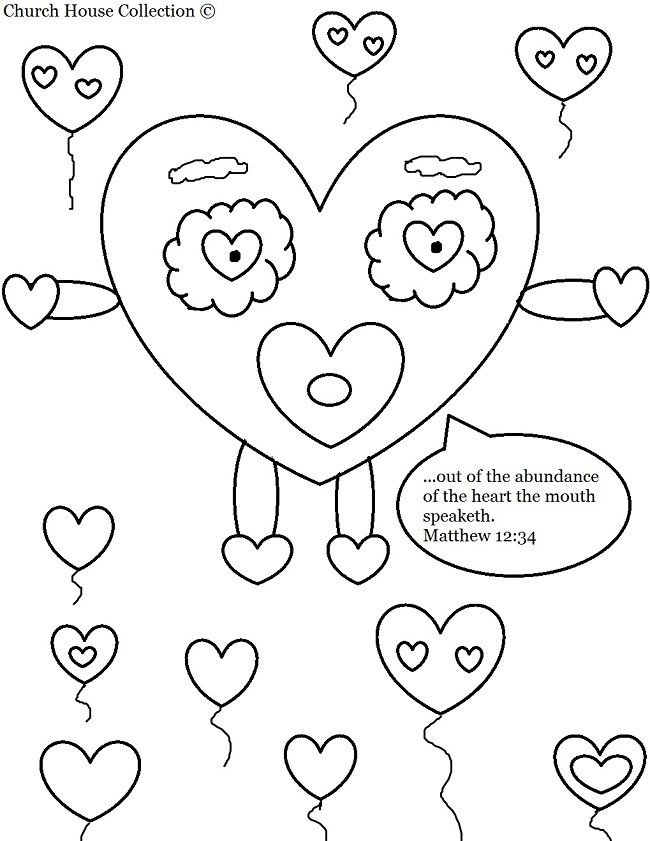 God Looks At The Heart Colouring Page
