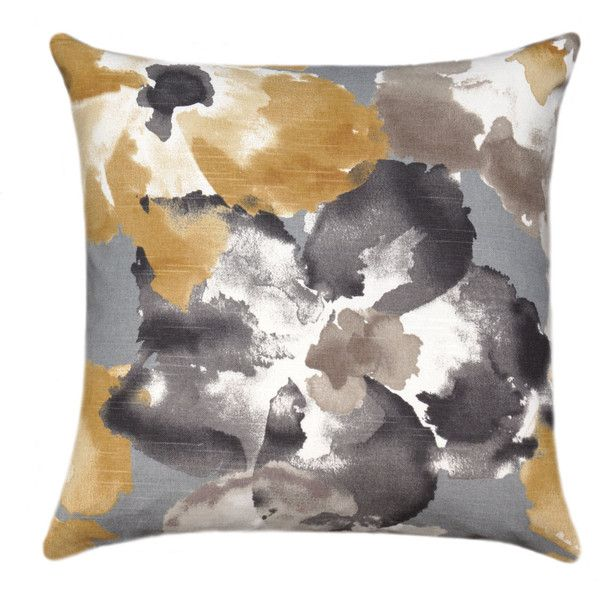 Gold Grey Brown Floral Throw Pillow Abstract Floral Pillow Cover 64 Brl Liked On Polyvore Featur Floral Throw Pillows Floral Pillow Cover Floral Pillows Brown and gold throw pillows