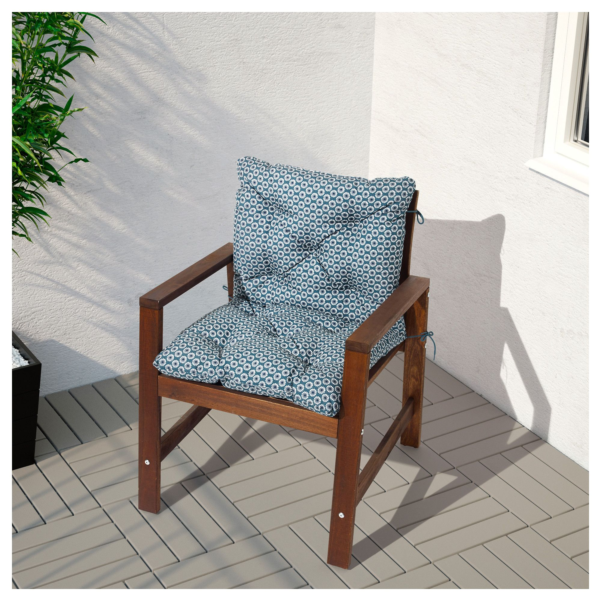 Applaro Armchair Outdoor Brown Stained Brown Coussin Assise Ikea Mobilier De Salon