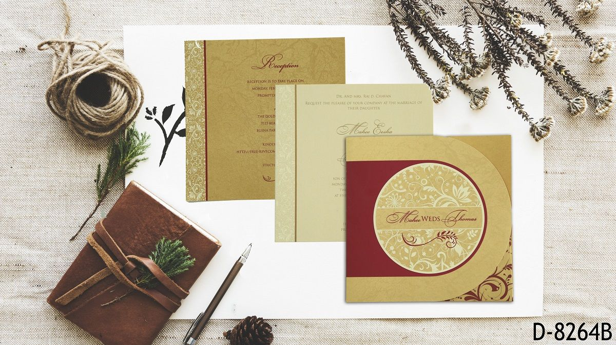 Gold Shimmery Paisley Themed Screen Printed Wedding Card D 8264b 123weddingcards Wedding Cards Indian Wedding Invitations Printable Wedding Invitations Vintage