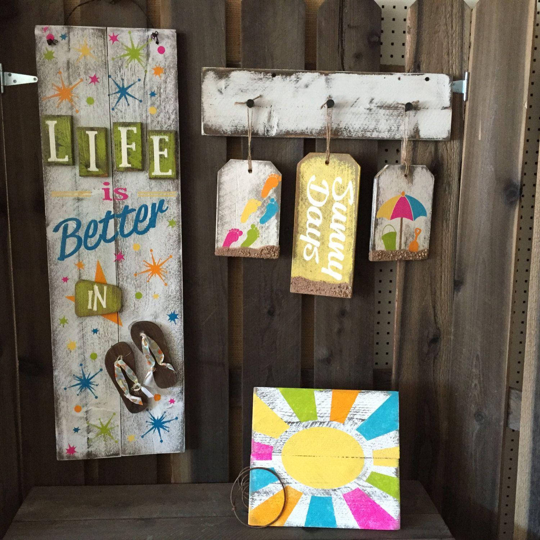 Flooring For Seasonal Homes: Life In Flip Flops, Summer, Holiday/Seasonal Wood Sign