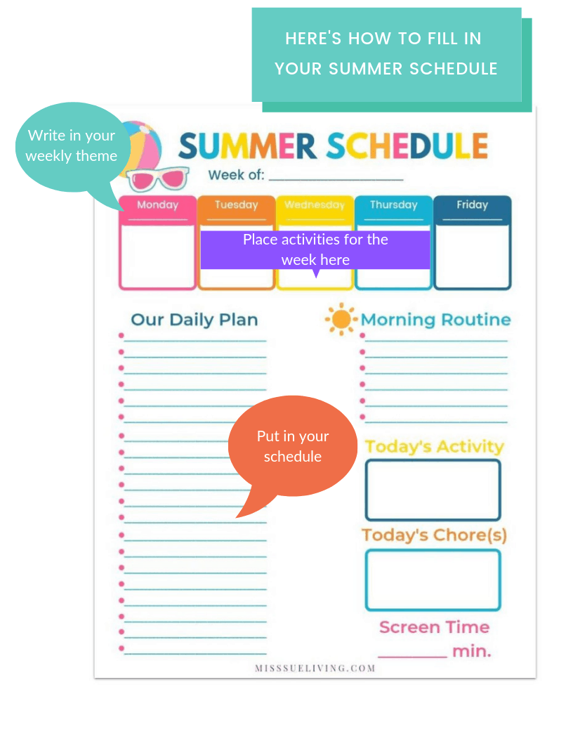A Summer Schedule For Kids That Will Keep Them Busy ~ Miss Sue Living