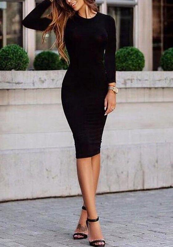 b9923218b0 Black Plain Polyester Round Neck Long Sleeve Slim Bodycon Pencil Midi Dress