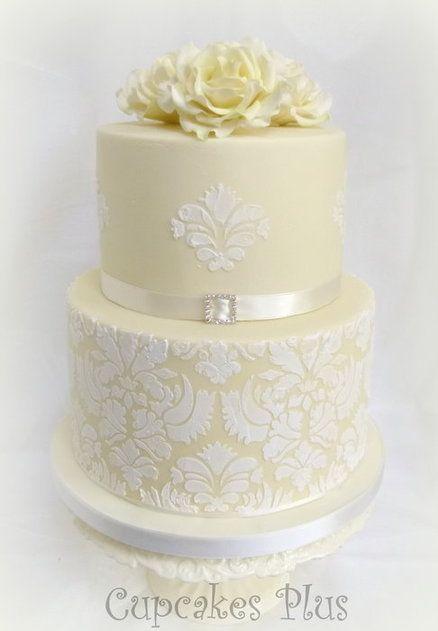 Ivory wedding cake - by cupcakesplus @ CakesDecor.com - cake decorating website