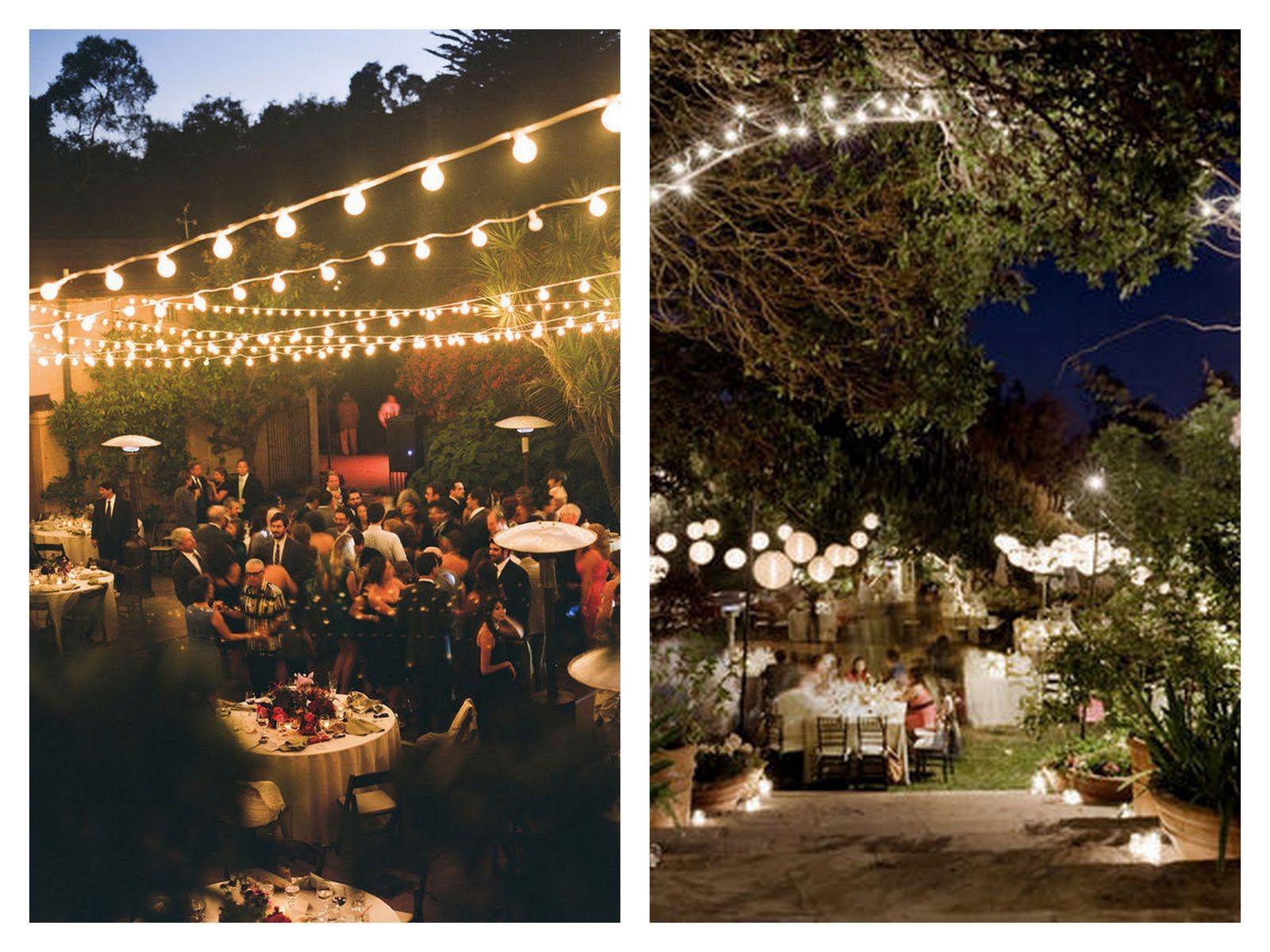 warm backyard wedding love the overhead lighting