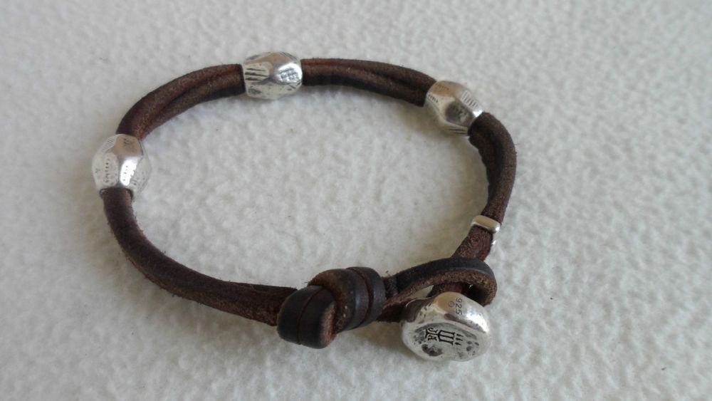 James Avery Sterling Silver Leather Rustic Bead Men S Bracelet