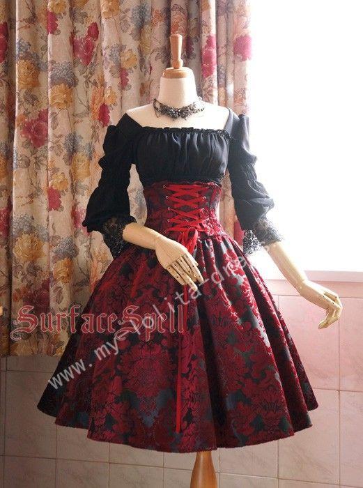 Surface Spell Dark Prints High Waist Lolita Skirt 6999 Cotton