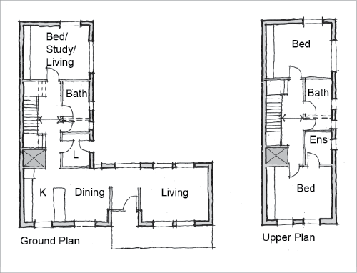 Delightful A Floor Plan Of The Ground Level And Upper Floor Of An Adaptable House. The