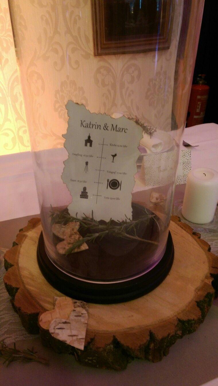 Hochzeitsablauf, Rosmarin , Holz, Braut, Tisch Dekoration | Wedding ...