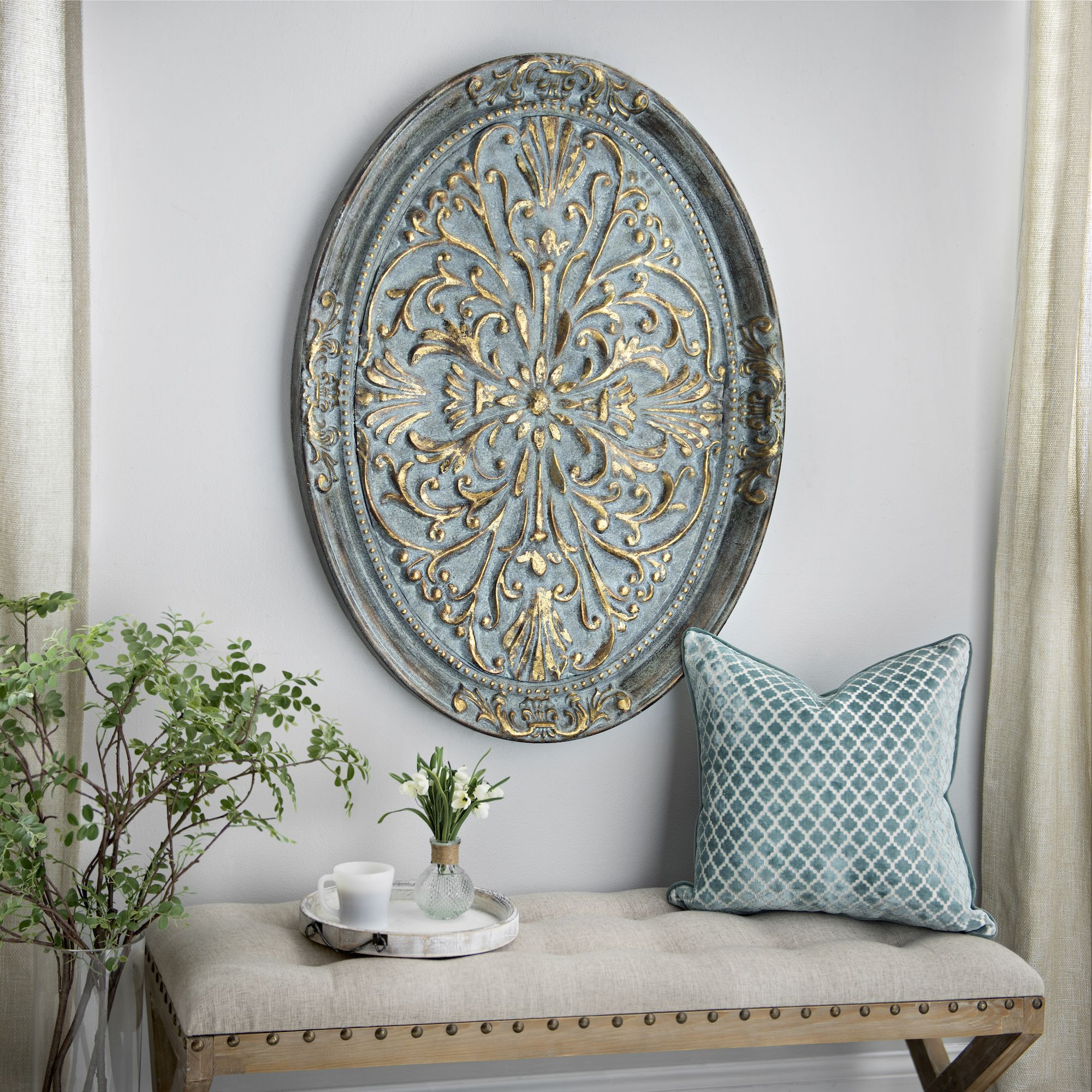 gold ornate oval metal wall plaque metal walls wall decor and