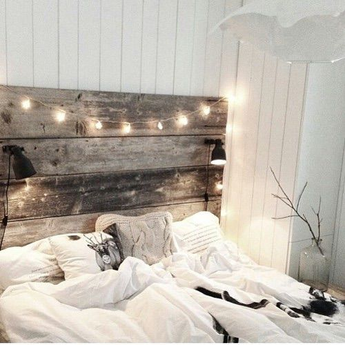 Love the headboard w lights concept