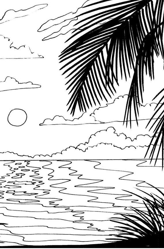 beach sunrise coloring page beach art digital by adultcoloringbook - Palm Tree Beach Coloring Page