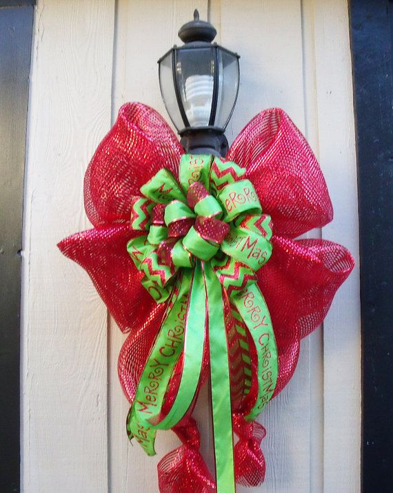 Christmas Decorations Red Bows : Xl christmas decoration for lamp posts outdoor light