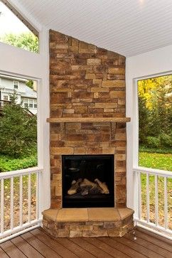 Corner gas fireplace design ideas pictures remodel and for Back to back indoor outdoor fireplace