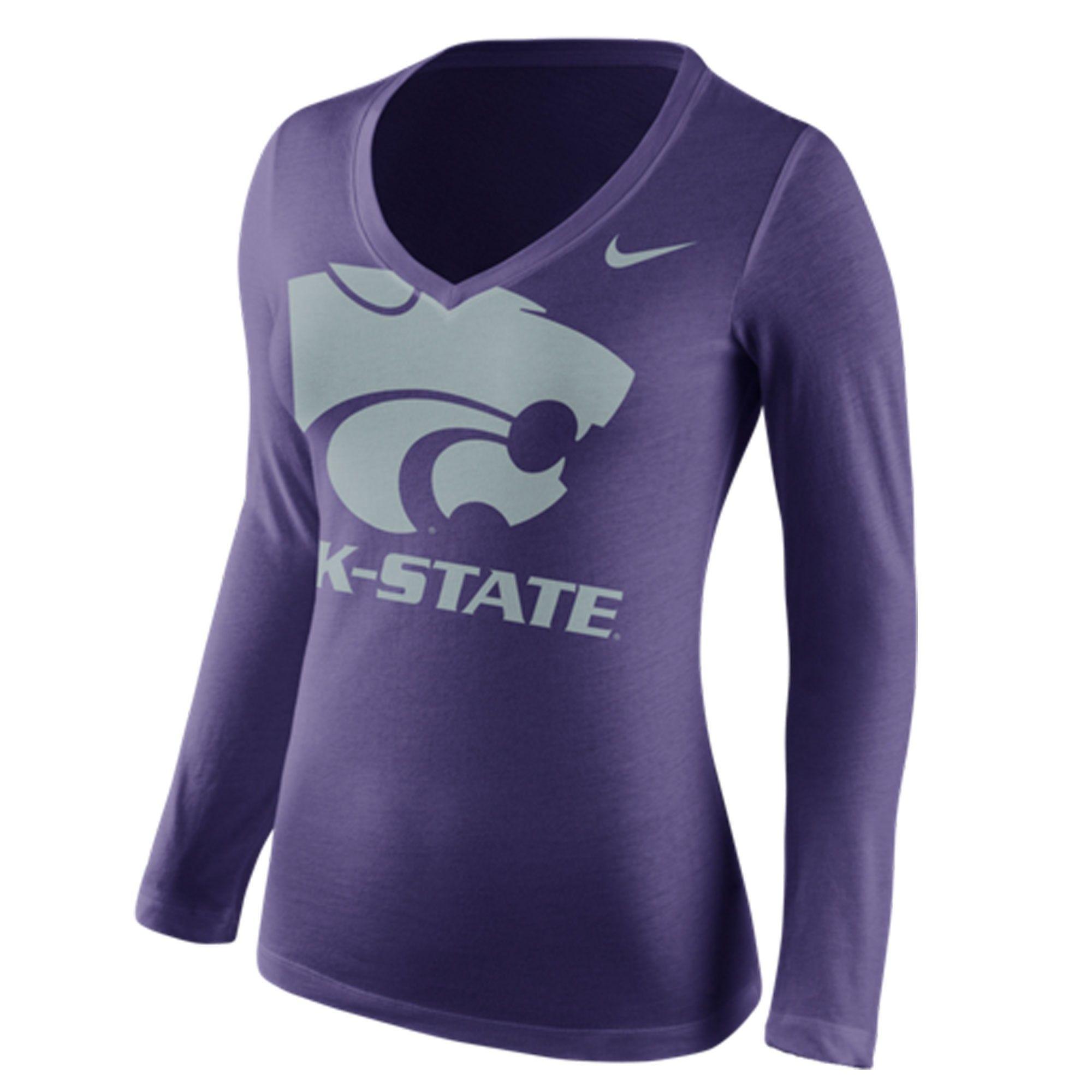 Kansas State Wildcats Nike Women's Logo Mid V-Neck Long Sleeve T-Shirt -  Purple