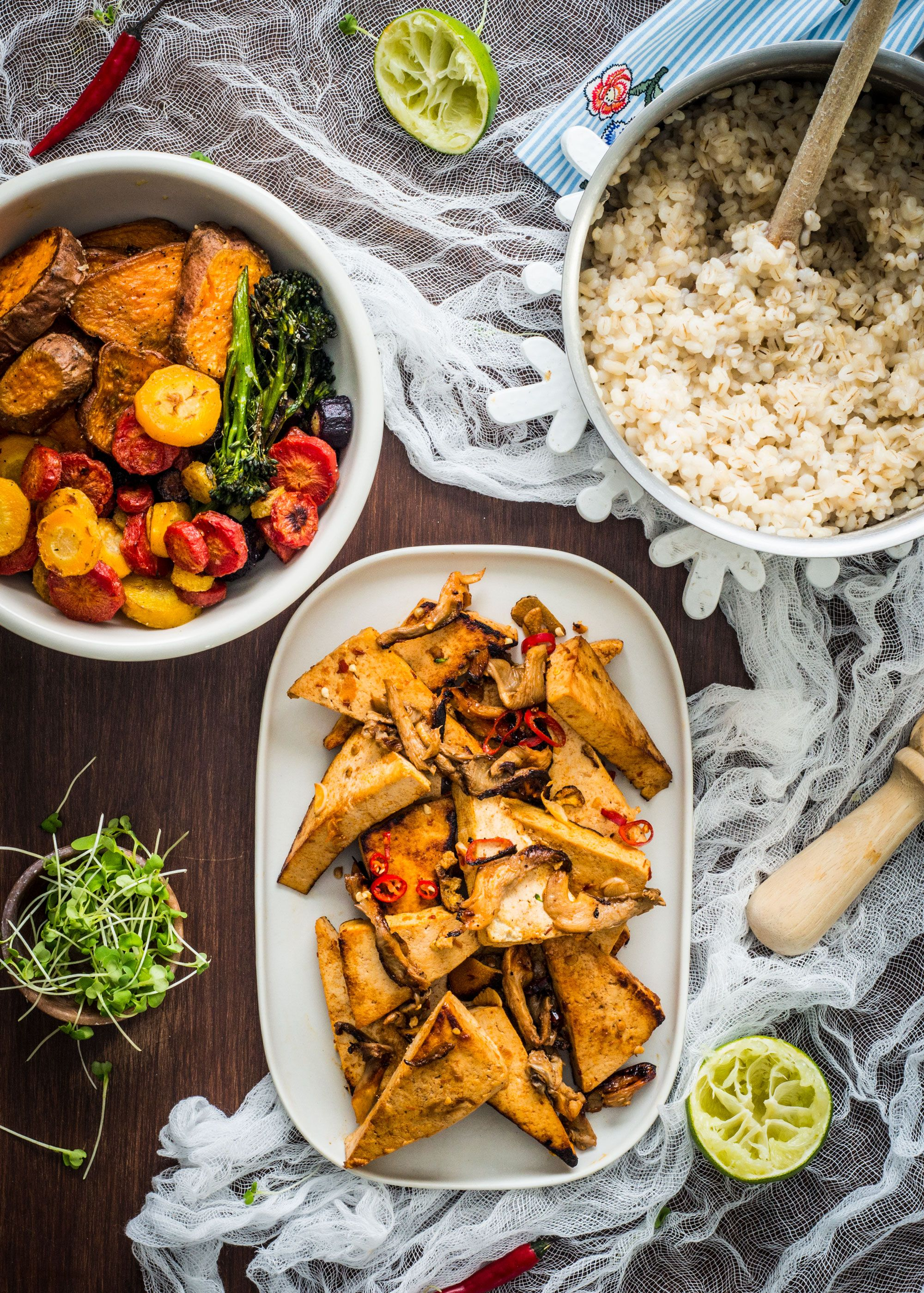 Spicy Tofu Veggie Bowls with Pearl Barley and Oyster Mushrooms
