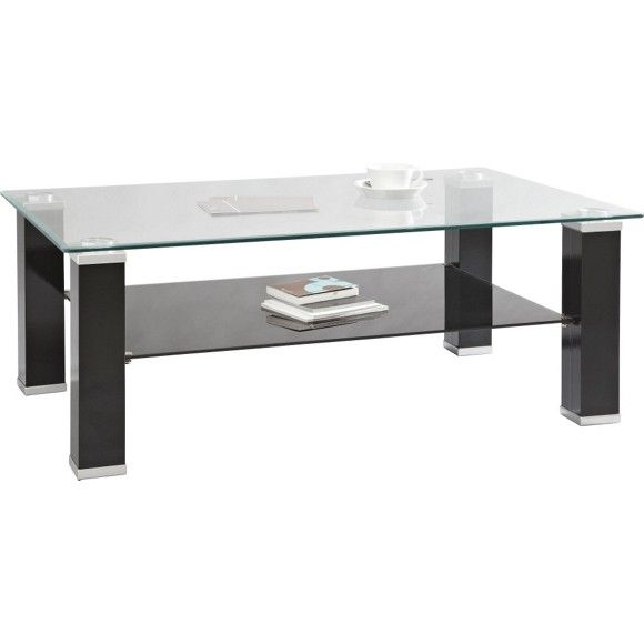 COUCHTISCH in 110/42/70 cm Klar, Schwarz, Silberfarben, Chromfarben - Couchtische - Wohn- & Esszimmer - Produkte