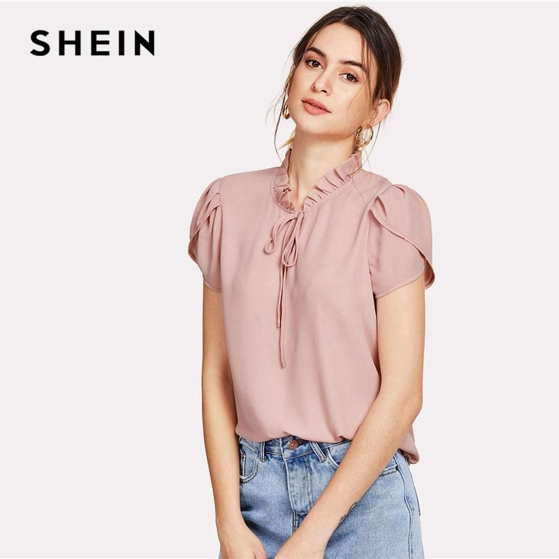 b326f95036c Pink Tie Neck Petal Sleeve Top Women Frill Trim Stand Collar Short Sleeve  Plain Summer Work Blouse