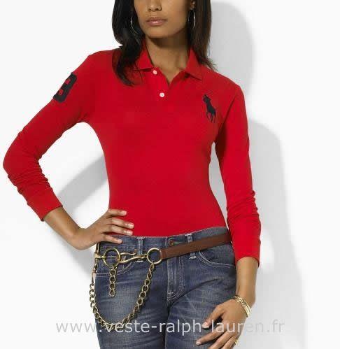 boutique Ralph Lauren femmes Manches longue t-shirt big pony rounge Polos  Femmes Manches Longues 0cec2c7e16b