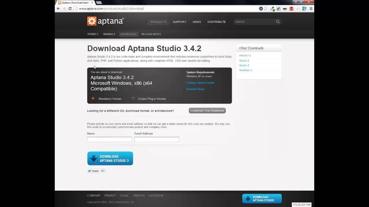 Website maken - Installeren van Aptana Studio 3 (Windows