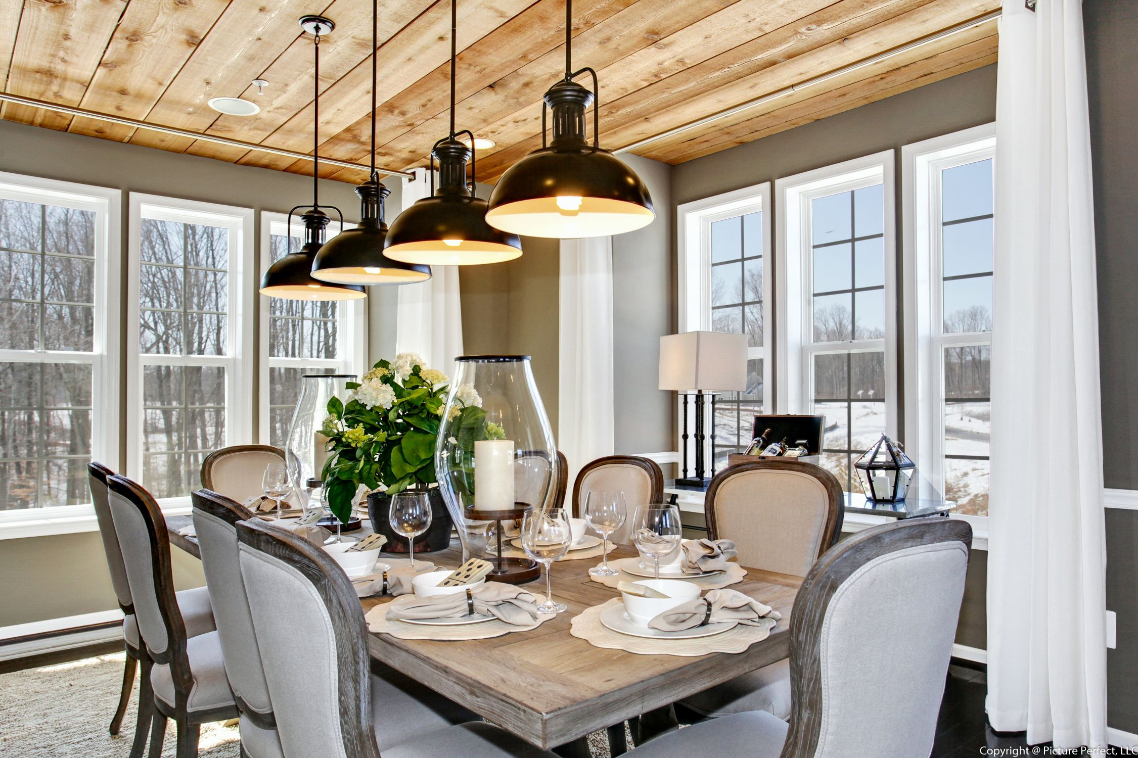 natural lighting in homes. Wonderful Rustic Wooden Dining Area With Natural Lighting At The Biltmore II Parkside By DRB In Homes
