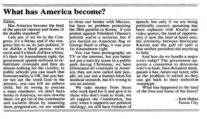 A LETTER TO THE EDITOR OF A MICHIGAN NEWSPAPER