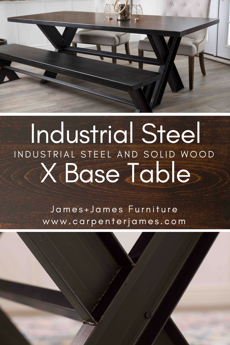 The steel x base dining table features a random board width jointed hardwood top