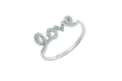 $15 for Sterling Silver Crystal Love Ring ($89.99 Value)