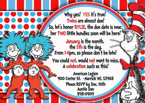 dr seuss thing & thing twin baby shower invitation   shops, dr, Baby shower invitations