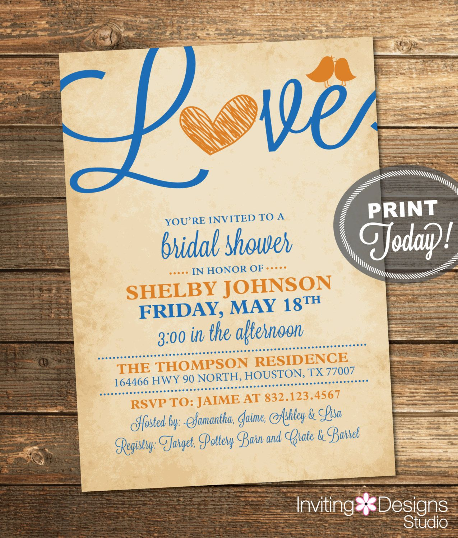 bridal shower invitations with recipe card attached%0A Bridal Shower Invitation  Love  Birds  Heart  Royal Blue  Orange  Blue
