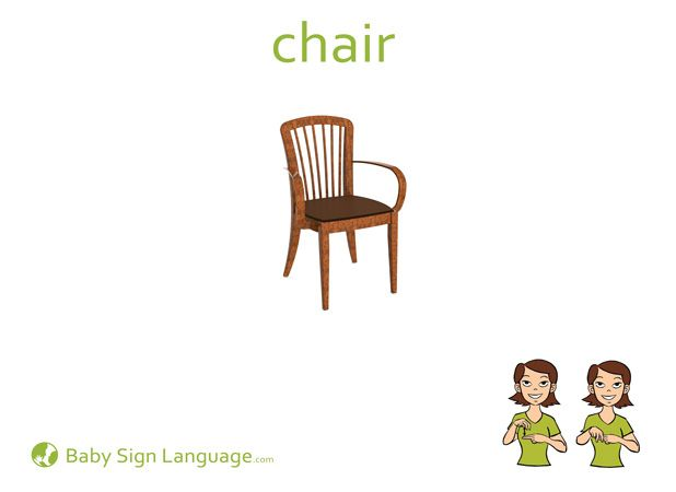 Chair Flash Card Sign Language For Kids Sign Language Baby Sign Language Flash Cards