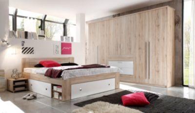 Schlafzimmer Mit Bett 180 X 200 Cm Nakos Und Kleiderschrank Eiche