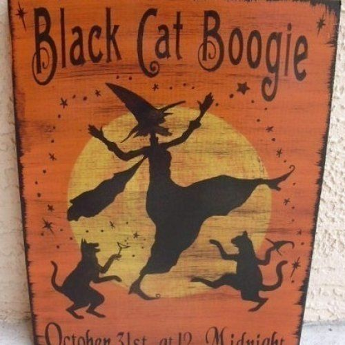 Primitive witch halloween sign Black Cats Boogie cat witches props Samhain wicca #NaivePrimitive #artist