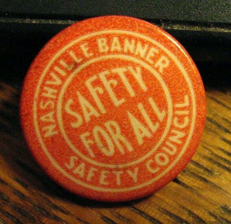 Nashville Banner Button Lapel Pin Vintage Tennessee
